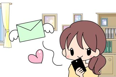 メールを送る女性