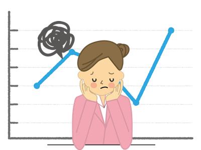 グラフに悩む女性
