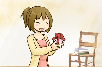 プレゼントをもらう女性