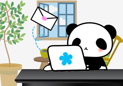 メールを送るパンダ