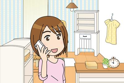 携帯で話す女性2
