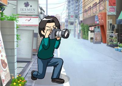 撮影をする男性