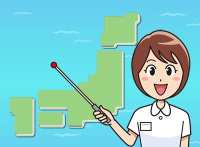 日本地図を指す女性