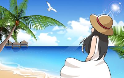 海辺にたたずむ女性