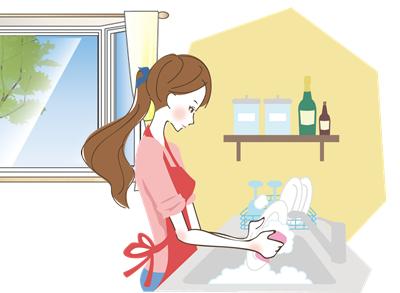 皿洗いをする女性2