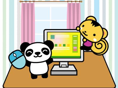 パソコンのパンダとリス