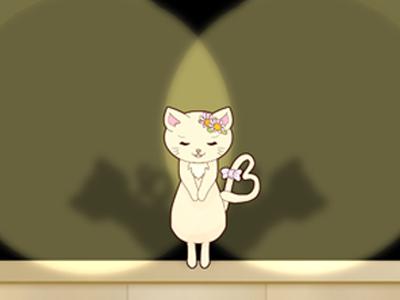 ライトを浴びる猫
