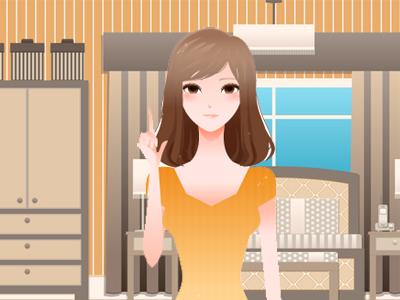 指を立てる女性